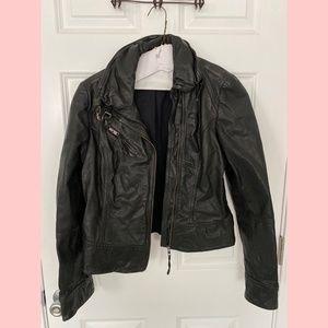 All Saints Belvedere Black Leather Jacket US 8